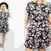 Vintage 80' 90's Black Floral Romper / 1980's Summer Romper / Pockets / Rose Print / Women's Size Small - Medium by RubyThreadsVintage