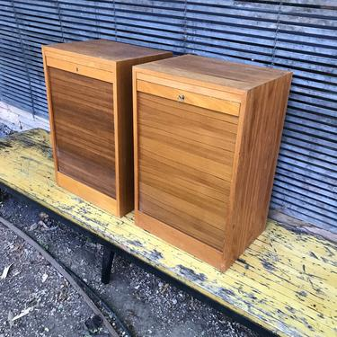 2 Teak Filing Cabinets Hans Wegner style Vintage Mid-Century Danish Modern Tambour Door Cabinmodern Retro Mad Men Office Desk Table Storage by BrainWashington