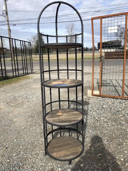 Round Metal/Wood 4 Shelf Display Unit