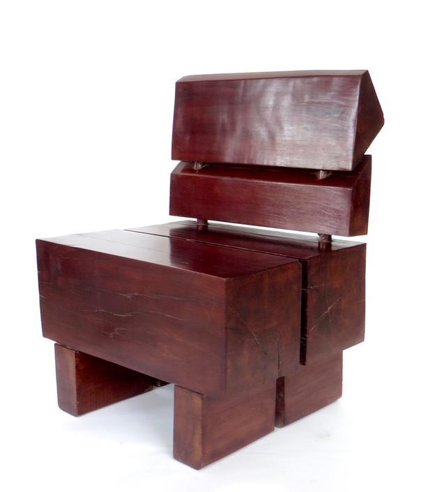 Sculptural Low Brazilian Rosewood Modernist Chair