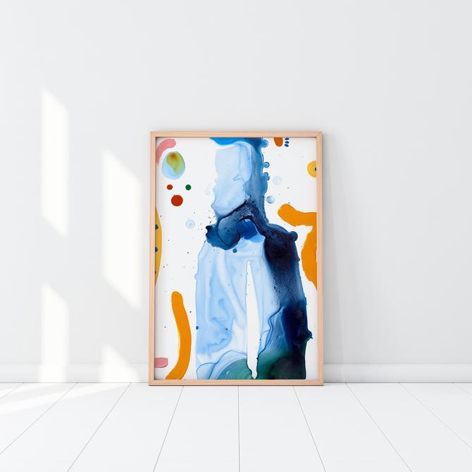 Large modern art, abstract painting, summer colors, blue art, nursery art, office art, cubicle decor, modern nursery by VioletredStudio