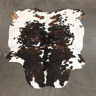 Vintage Cowhide Rug 1980s Retro Size 82x71 Tricolor + White + Brown + Black + Genuine Animal Hide + Bohemian Area Rug + Home and Floor Decor by RetrospectVintage215