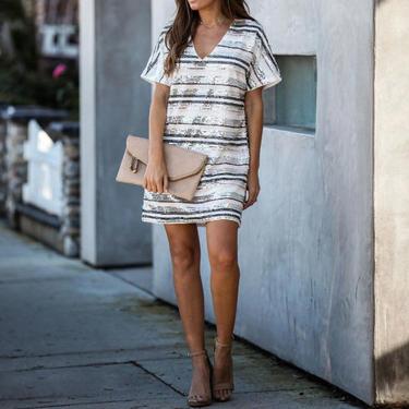 Anniversary striped sequin shift dress by HeyJanuary