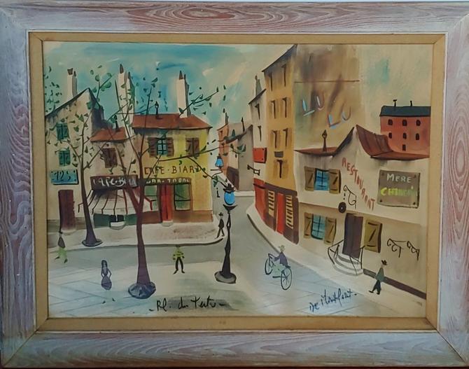 Paris Street Scene Painting by Charles De Montfort c. 1960's by ModandOzzie
