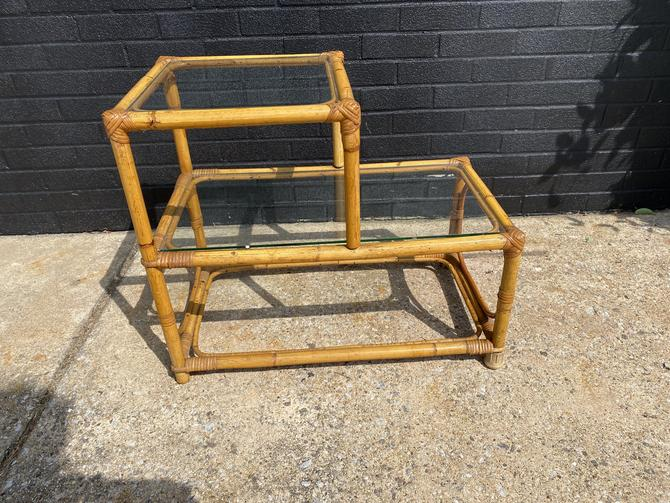 Mid Century Rattan Framed Stepped End Table