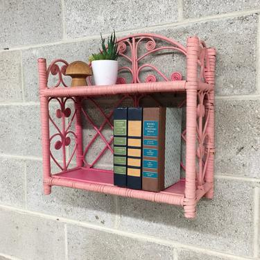 Vintage Wicker Rack Retro 1980s Bohemian + Pink + Two Tier + Woven Design + Open Shelving and Display + Home and Wall Decor + Plant Stand by RetrospectVintage215