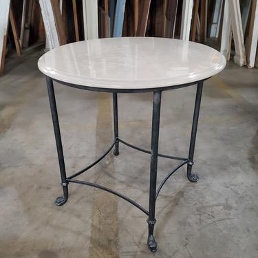 Side Table with Marble Top and Dolphin Feet