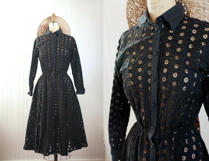 50s black eyelet dress || long sleeve circle eyelet cotton dress || small by foganddriftwood