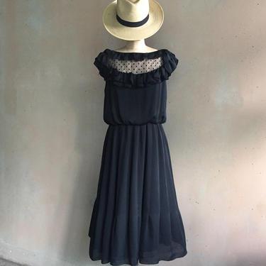 Vintage Handmade Silky Sheer Lace & Ruffles Black Dress by LucileVintage