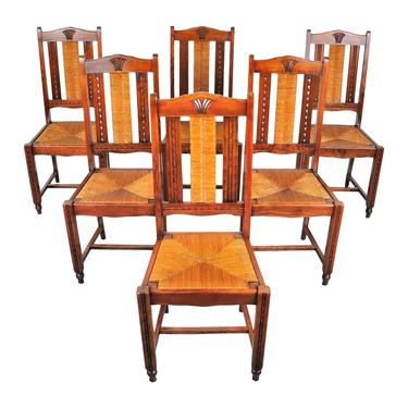 Vintage Set of 6 French Provincial Maple Rush Seat and Back Dining Chairs by StandOutSpaces