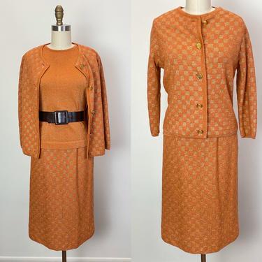 Vintage 1960s Knit Set 60s Skirt Cardigan and Sweater Orange Gold Lurex by littlestarsvintage