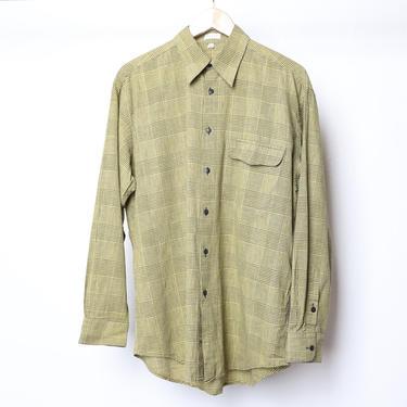 vintage men's GRUNGE nirvana yellow & black plaid color BLOCK long sleeve button up shirt -- size medium by CairoVintage