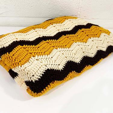 Vintage Chevron Blanket Retro Throw Crochet Afghan 70s 1970s Diamond Mustard Yellow Ivory White Brown Handmade Kitschy Granny Grannycore by CheckEngineVintage