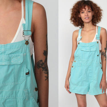 Blue Overall Shorts -- Squeeze Jeans Cotton Overalls Shortalls 90s Shortalls Y2K Bib Overalls Woman Vintage Distressed Normcore Retro Medium by ShopExile