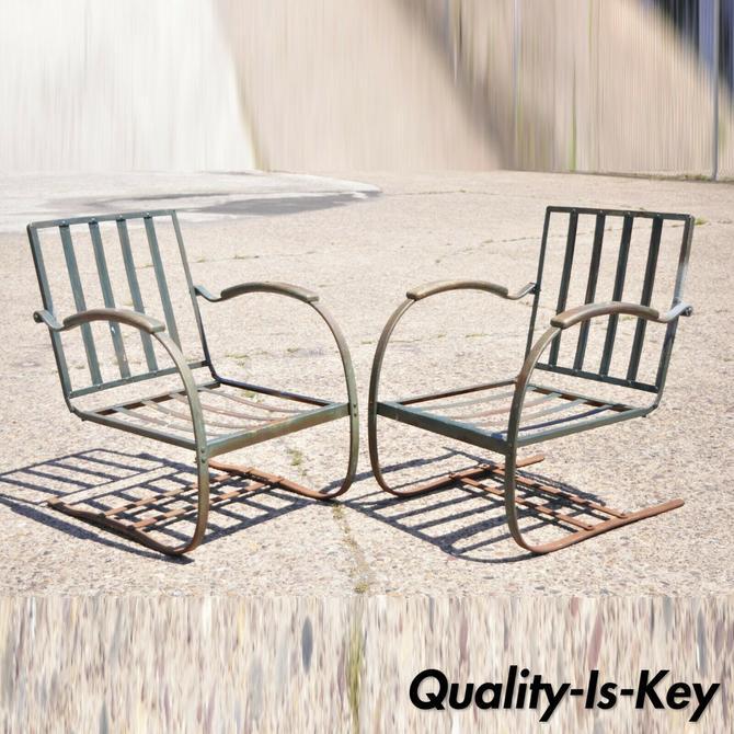 Art Deco Metal Wrought Iron Green Patio Garden Bouncer Lounge Chairs - a Pair
