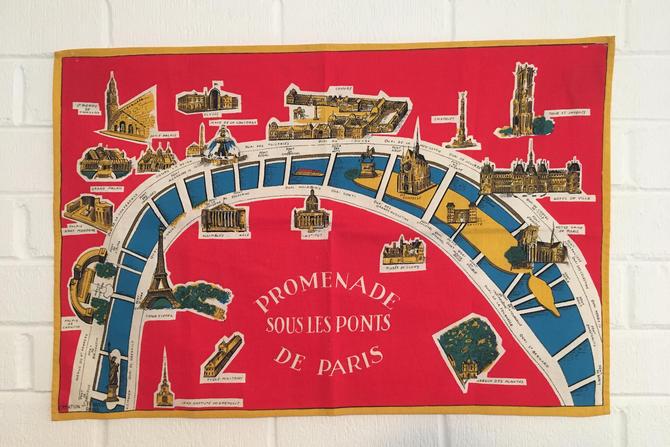 France Souvenir Tea Towel Cotton Linen Kitchen Mid-Century Retro Josette Franco Travel Rustic France Promenade Sous Les Ponts de Paris by CheckEngineVintage