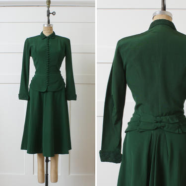 vintage 1950s womens suit • New Look full cut skirt & princess jacket in dark forest green • soutache trim fit and flare set by LivingThreadsVintage