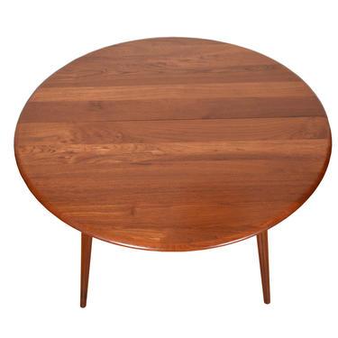 Danish Solid Teak Expanding Splayed Leg Dining Table