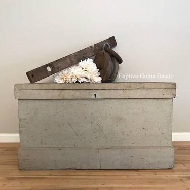 Woodworkers Chest, Handmade Antique Trunk, Constructed in early 1900's using Primitive Tools, contains original, vintage tools by CaptivaHomeDecor