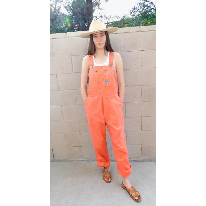 Big Smith Sanforized Union Made Overalls // vintage 70s cotton jumpsuit denim boho hippie work wear chore jeans dress hippy orange // O/S by FenixVintage