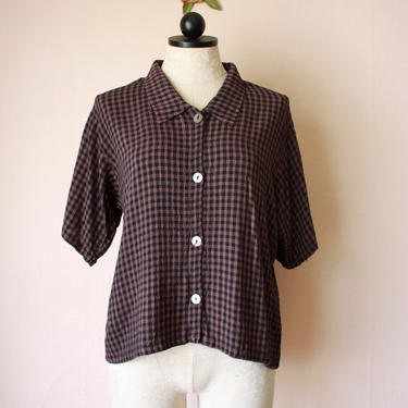90s Brown and Black Gingham Blouse Short Sleeve Checkered Rayon Shirt Size M by NoSurrenderVintage