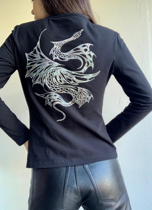 Y2K Cavalli Jeans Dragon Long Sleeve Tee by VintageRosemond
