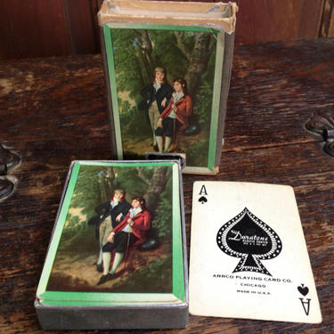 Playing Cards with Storage Box , Made in USA, Duratone Two Boys Classic Painting by JansVintageStuff