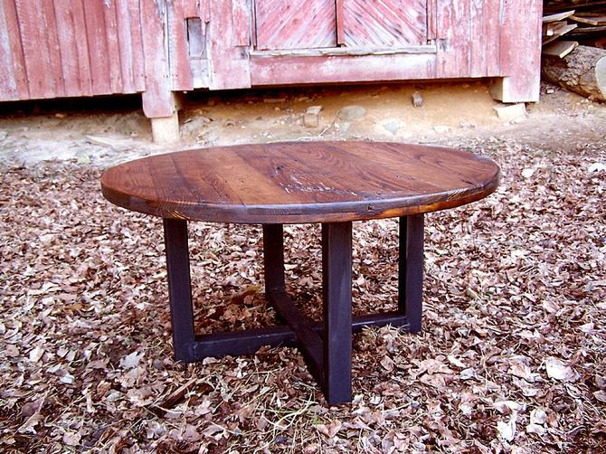 Free Shipping! Reclaimed wormy chestnut round coffee table with industrial metal base by BarnWoodFurniture