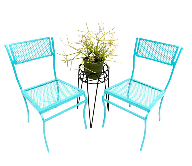 Pair of Mid-Century Salterini Turquoise Metal Garden Chairs | Perfect Size Iron Mesh Indoor/Outdoor Seating by ELECTRICmarigold
