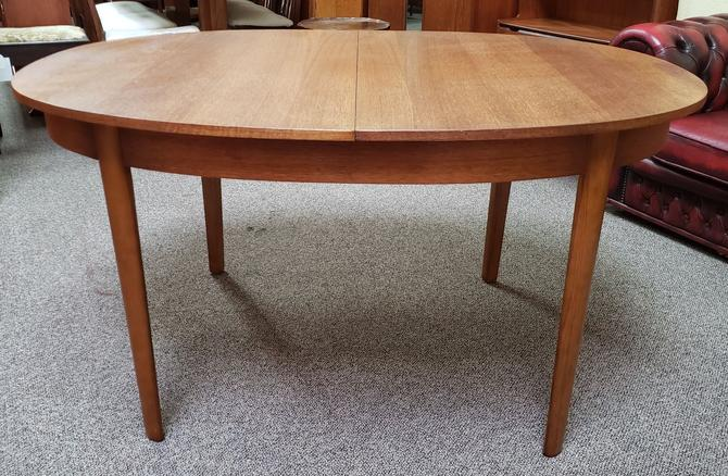 Item #MA59 Vintage Teak Oval Dining Table w/ Butterfly Leaf c.1960