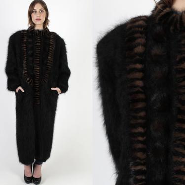 Black Mink Sweater Coat / Button Up Oversized Mink Fur Jacket / Cozy Plush Mohair Sweater / Vintage 80s Striped Mink Long Duster Jacket by americanarchive