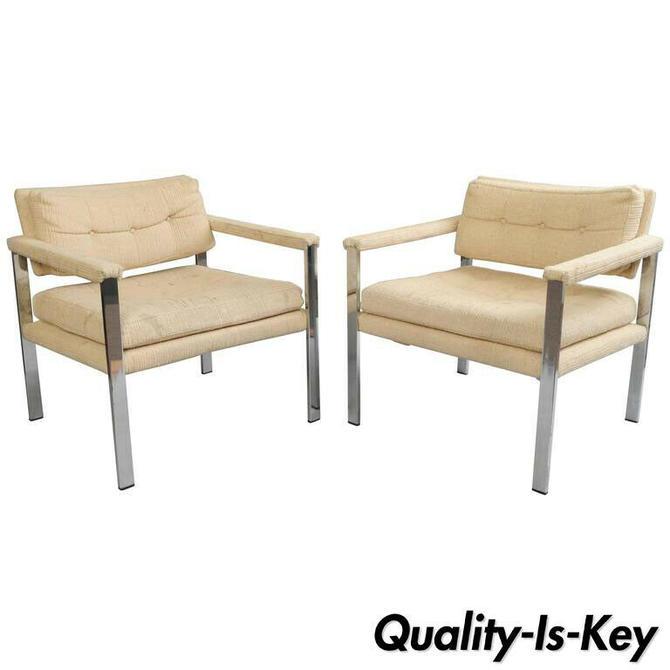 Pair Mid Century Modern Flat Bar Chrome Club Lounge Chairs after Milo Baughman