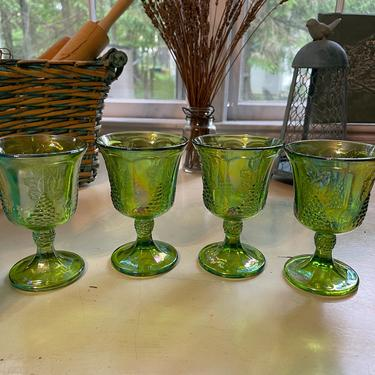 Vintage Indiana Glass Co. Carnival Glass Goblets Iridescent Green (set of 4)