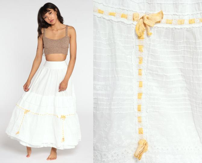 White Peasant Skirt 80s Cottagecore Tiered Skirt Floral Embroidered Hippie Maxi 1980s Boho Cotton Bohemian Vintage Extra Small xxs 2xs 22 by ShopExile