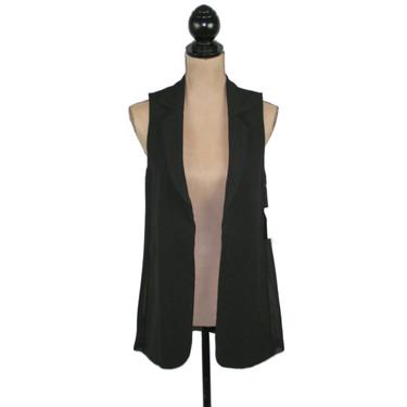 Long Vest Women Small, Black Sleeveless Cardigan Vest with Collar, Casual Clothes Women Vintage Clothing by MagpieandOtis