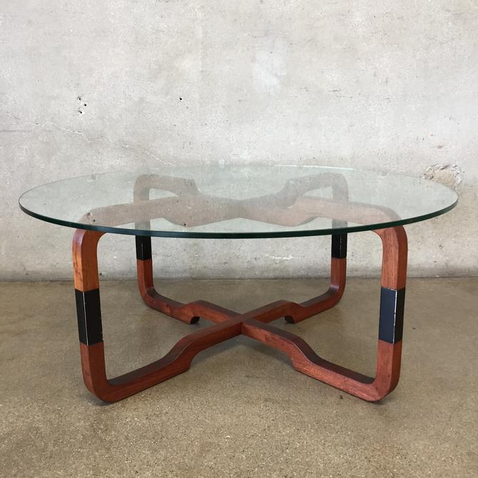 Round Mid Century Glass Coffee Table