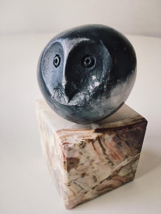 Handmade Abstract Picasso Owl Figurine Flute Vintage Mid Century black glaze rare ocarina by CaribeCasualShop