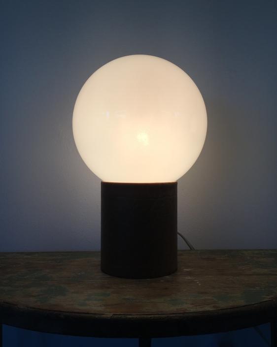 Mid Century Modern Leather Globe Table Lamp by ModandOzzie