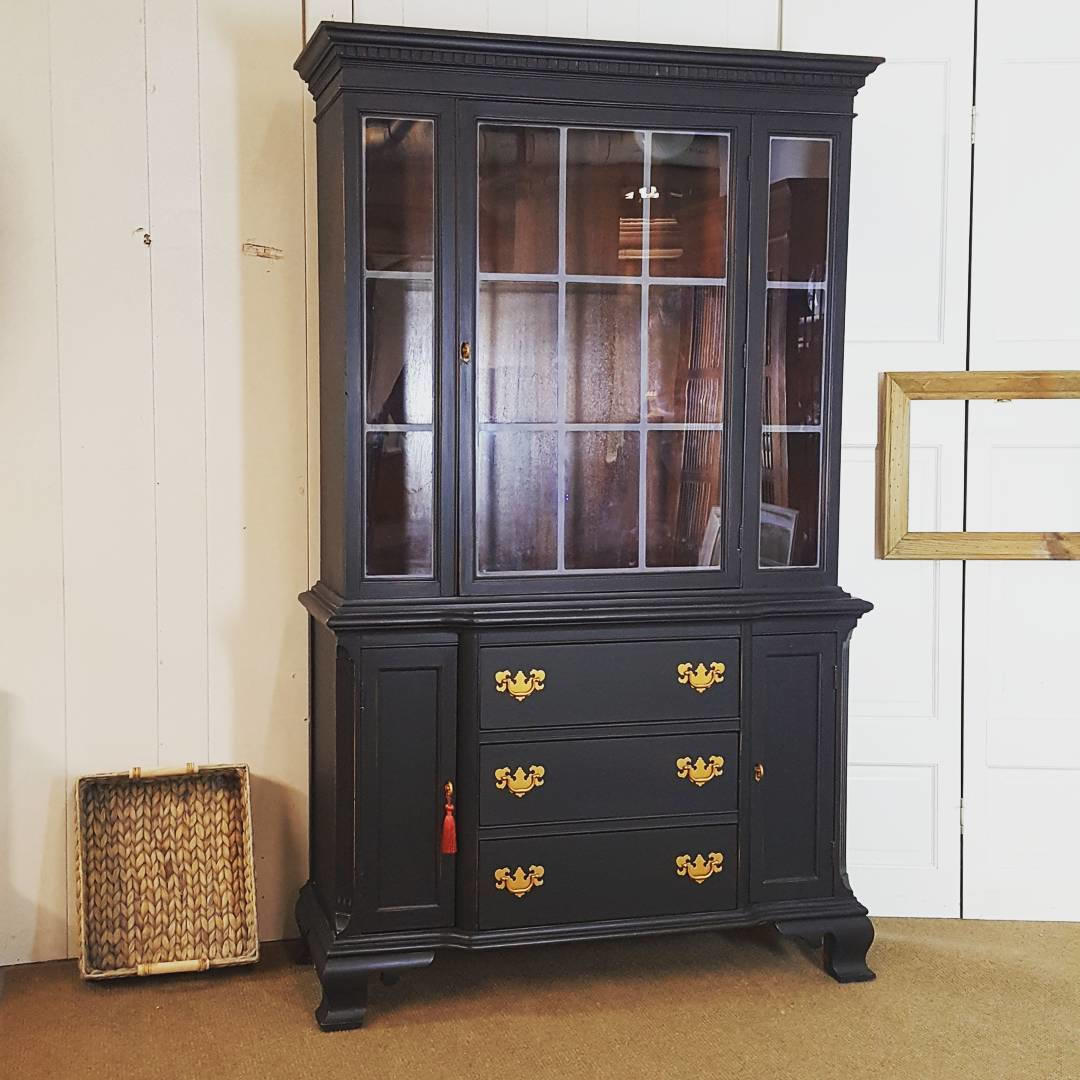 Black China Cabinet Slightly Distressed By Uniquebyruth