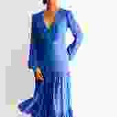 Saloni Polka Dot Ruffle Tiered Midi Dress, Size 4