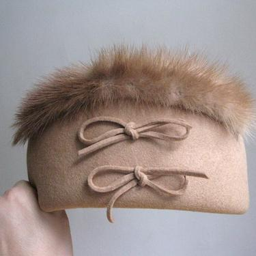 Vintage Variety Hat Co. Camel Wool and Fur Hat by circlethesquare