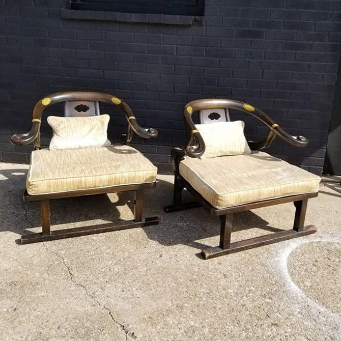 """Pair of Mid Century Chinese style chairs 14"""" cushion to floor, 31"""" wide, 25 """" deep."""