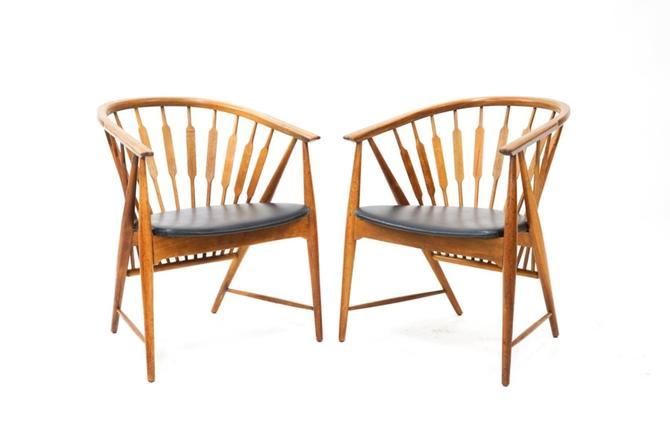 Pair of Kipp Stewart for Drexel Walnut Chairs