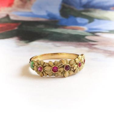Vintage Yellow Enamel Daisies With Lab Ruby Centers Band Ring 18K by YourJewelryFinder