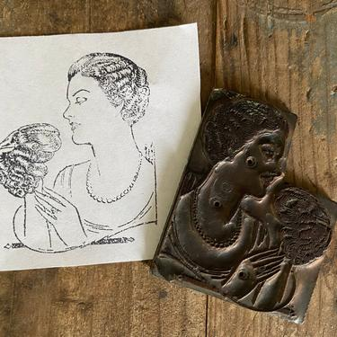 Vintage Metal Print Block, Printing Plate, Letterpress, Small Plate With Woman's Image, Lady's Wig Ad, Printer's Type by luckduck