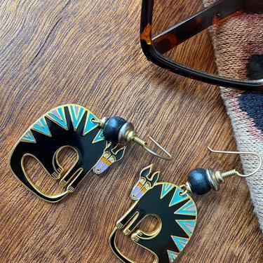 Vintage Laurel Burch Black CAT Mythical Beast Earrings Dangle Black Feline Earrings, Animal Earrings by TheUnapologeticSoul