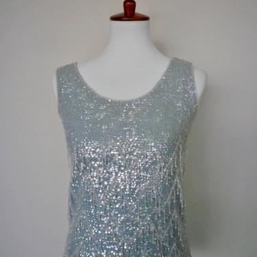 Vintage 50s beaded sweater/sky blue sweater shell with sequins by LavenderJosephine