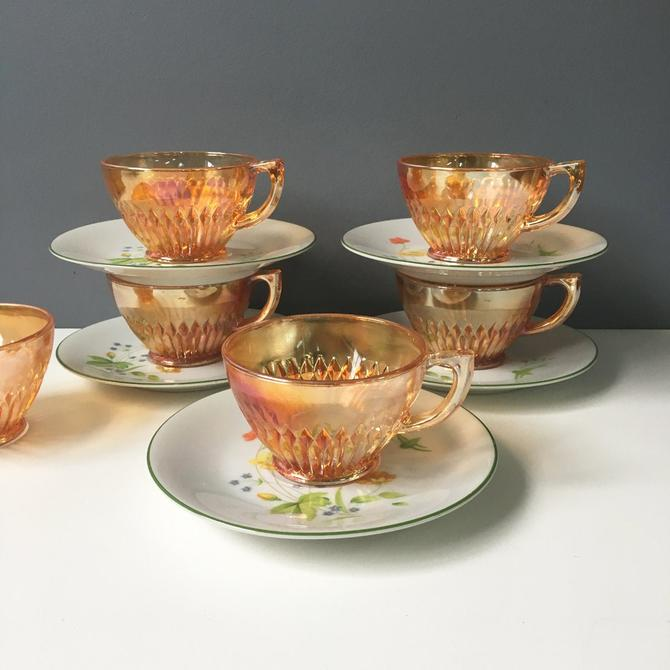 Mix and match cups and saucers set of 5 - carnival glass and floral pattern - vintage tableware by NextStageVintage