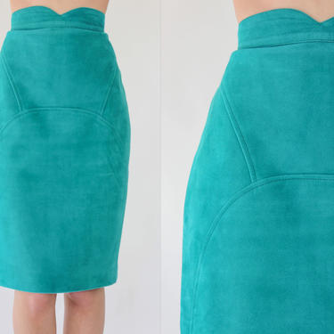 Vintage 80s Jean Claude Jitrois Paris Teal Suede Leather High Waisted Pencil Skirt | Made in France | 1980s JITROIS French Designer Skirt by TheVault1969
