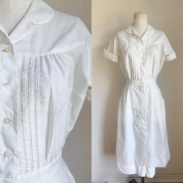 Vintage 1950s Nylon White Uniform Dress / XS by MsTips